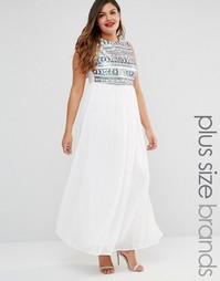 Платье макси с пайетками на лифе Club L Plus - Белый