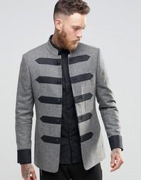 Твидовый пиджак с отделкой узкими лентами ASOS - Индия