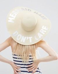 Соломенная oversize-шляпа с надписью Mermaid цвета металлик ASOS
