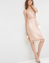 Атласное платье‑сорочка с сетчатыми вставками ASOS - Телесный