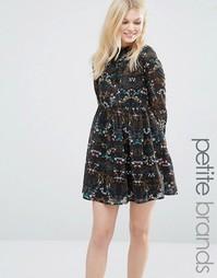 Платье миди с завязкой на бант Yumi Petite - Черный цветочный