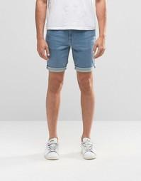 Голубые супероблегающие джинсовые шорты ASOS - Светло-голубой