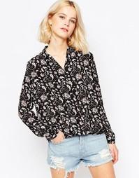 Блузка с запахом спереди Glamorous - Blk burgundy edge pa