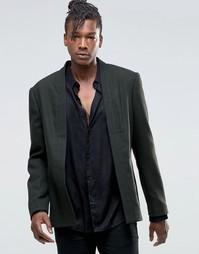 Строгий укороченный пиджак без застежки ASOS - Хаки
