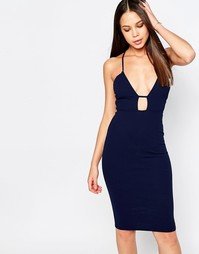 Облегающее платье миди с лямками Oh My Love - Темно-синий