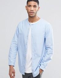Рубашка без воротника ADPT - Кашемировый синий