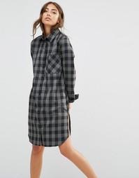 Платье-рубашка в клетку с карманом Daisy Street - Темно-серый в клетку