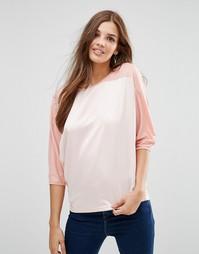 Бело-розовый oversize‑топ с рукавами реглан Lavand Silky - Розовый