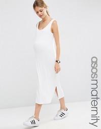 Платье-майка миди в рубчик для беременных ASOS Maternity - Белый