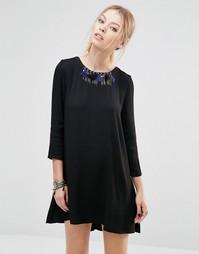 Цельнокройное платье с отделкой в виде ожерелья See U Soon - Черный