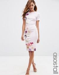 Облегающее платье‑футболка с цветочным принтом ASOS TALL - Мульти
