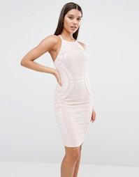 Кружевное платье-футляр с высокой горловиной Lipsy - Телесный