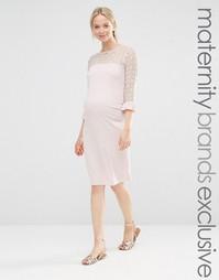Облегающее платье с кружевными вставками Bluebelle Maternity - Розовый