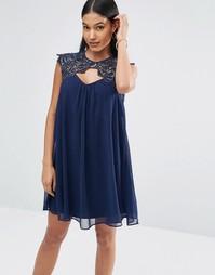 Платье мини молодежного стиля с кружевной вставкой Lipsy - Темно-синий