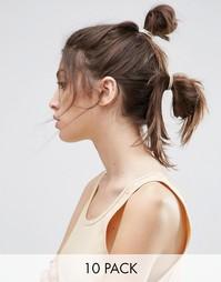 Набор из 10 телесных резинок для волос ASOS - Телесный