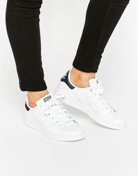Бело-синие кроссовки Adidas Originals Stan Smith - Белый