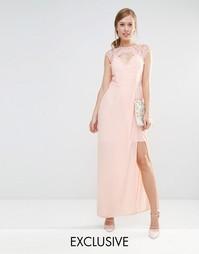 Платье макси с вырезом сердечком и отделкой кружевом Elise Ryan