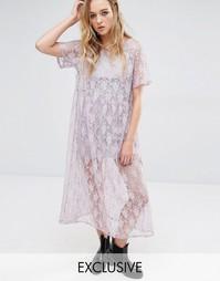 Свободное кружевное платье нестандартной длины Reclaimed Vintage