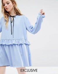 Свободное платье с рюшами Reclaimed Vintage - Синий
