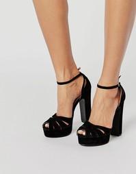 Босоножки на каблуке и платформе Public Desire Macey - Черный замшевый