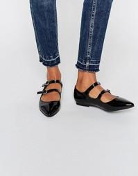 Черные лакированные туфли на плоской подошве Daisy Street