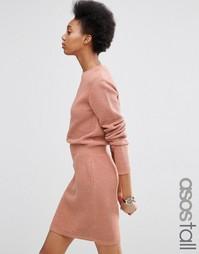 Приталенное платье с эластичной талией ASOS TALL - Blush