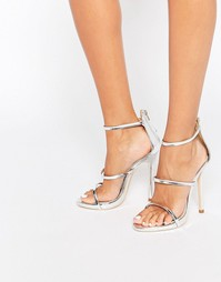Серебристые сандалии на каблуке Public Desire - Серебряный