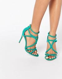 Босоножки на каблуке Public Desire Gaby - Зеленая замша