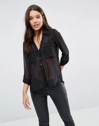Рубашка с карманом в стиле милитари Fleur East By Lipsy - Черный