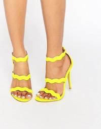 Ярко-желтые сандалии на каблуке с ремешками Public Desire Ela