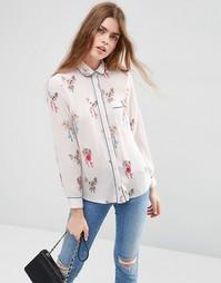 Блузка в пижамном стиле с принтом кошек ASOS - Мульти