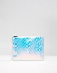 Клатч на молнии в стиле змеиной кожи голографического оттенка Skinnydi Skinnydip