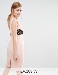 Платье-футляр с V-образным вырезом сзади и кружевной отделкой Elise Ry