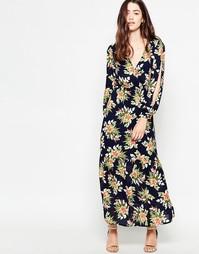 Платье макси с длинными рукавами и тропическим принтом Mela Loves Lond