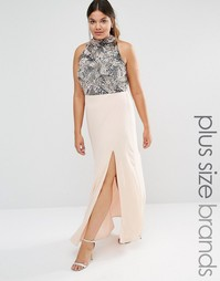Декорированное платье макси с высокой горловиной и разрезом Lovedrobe