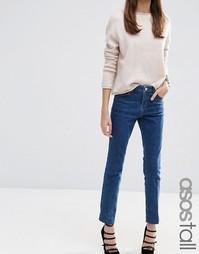Винтажные узкие прямые джинсы темно-синего цвета ASOS TALL - Синий