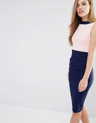 Платье-футляр в стиле колор блок Vesper