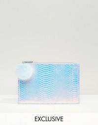 Маленький эксклюзивный клатч с помпоном переливающегося оттенка Skinny Skinnydip