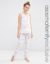 Пижамный комплект для беременных с майкой и брюками с леопардовым прин Asos Maternity