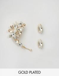 Набор кафф+серьги-гвоздики с камнями Johnny Loves Rosie Demi - Золотой
