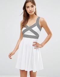 Платье с контрастными бретельками Wyldr Magnitude - Слоновая кость