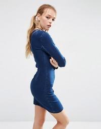 Синее джинсовое платье мини с длинными рукавами ASOS - Синий