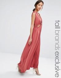 Платье макси с вырезом True Decadence Tall - Красно-бурый