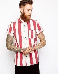Полосатая рубашка с короткими рукавами ASOS - Красный