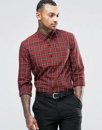 Красно-бурая клетчатая рубашка с длинными рукавами ASOS - Красно-бурый