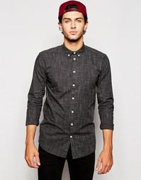 Рубашка слим с принтом Minimum - Черный