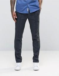 Темно-синие жаккардовые брюки зауженного кроя ASOS - Темно-синий
