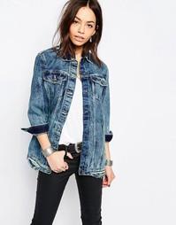 Удлиненная джинсовая куртка Only - Умеренно-синий деним