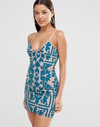 Облегающее сетчатое платье с отделкой флок Missguided