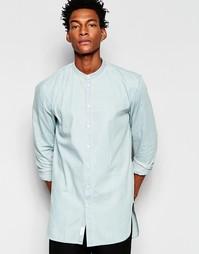 Выбеленная джинсовая рубашка с воротник с застежкой на пуговицах Minim Minimum